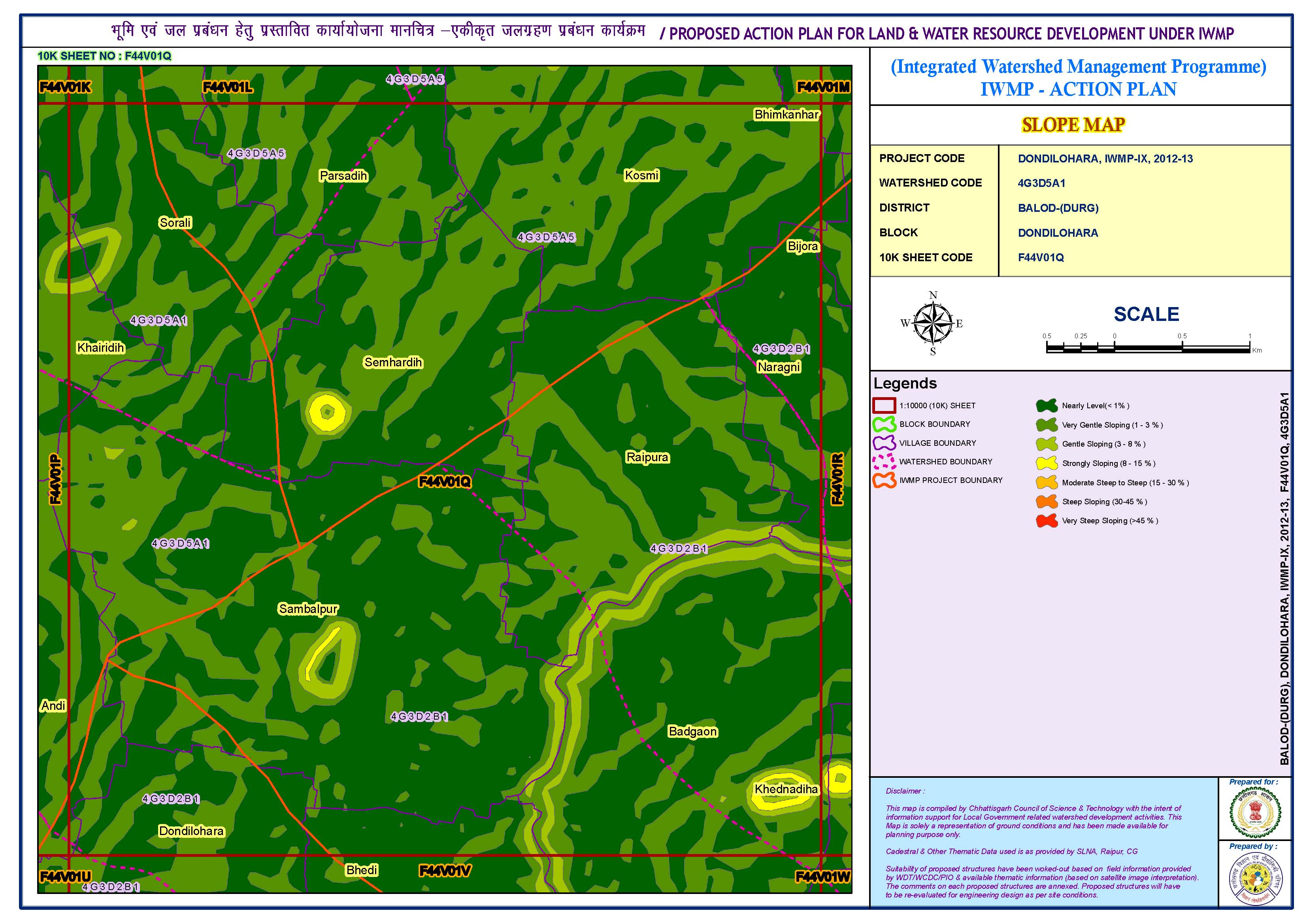 Proposed action plan for land and water resource development (Slope map)