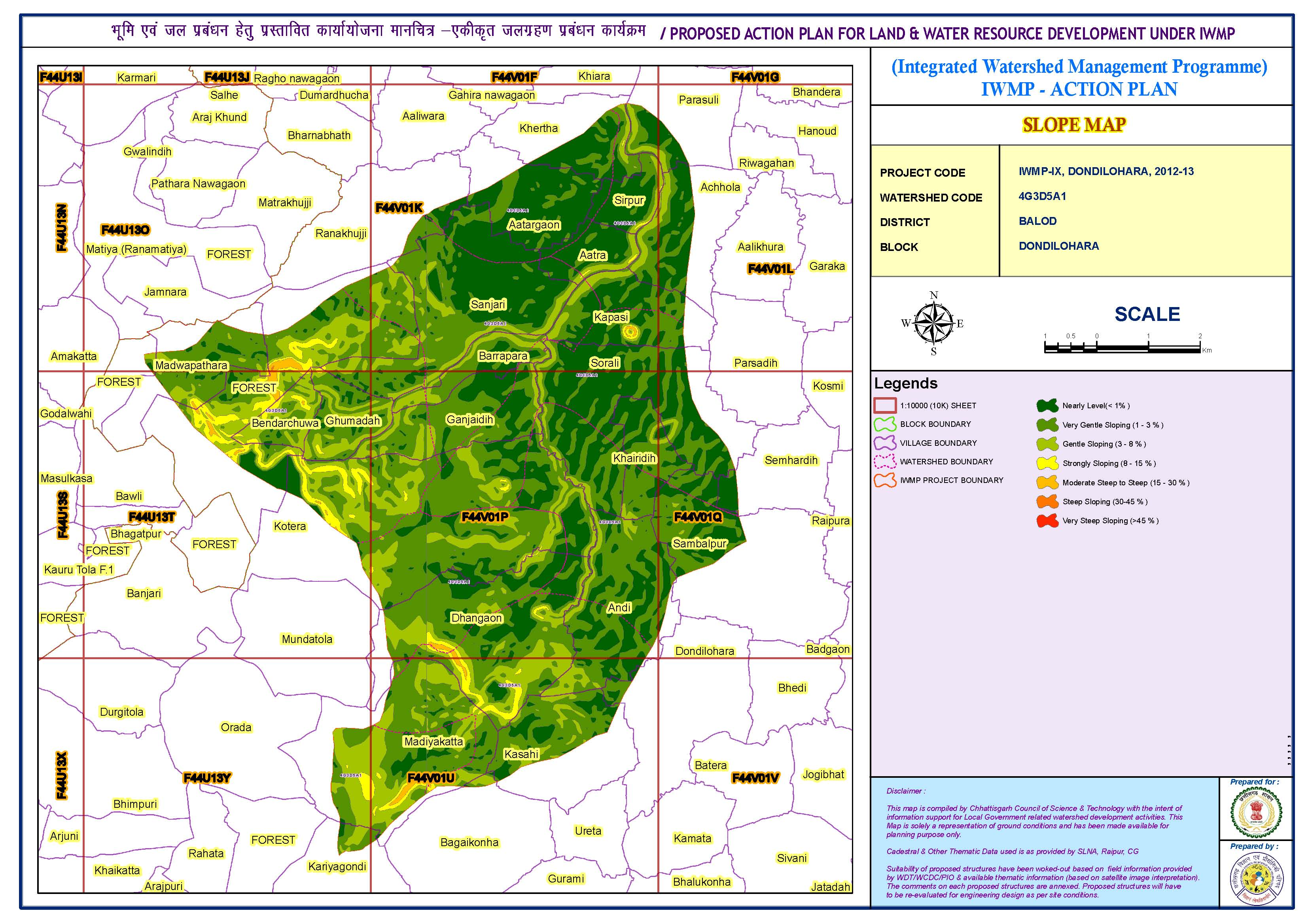 Integrated watershed management  (Slope map)